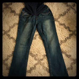 Indigo blue maternity bootcut jeans